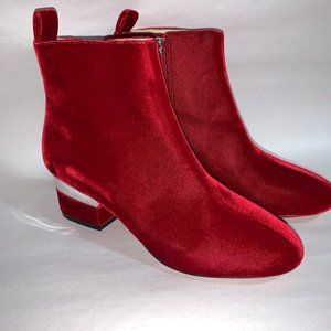 Isa Tapia HARDY Boots Booties Red Crushed Velvet